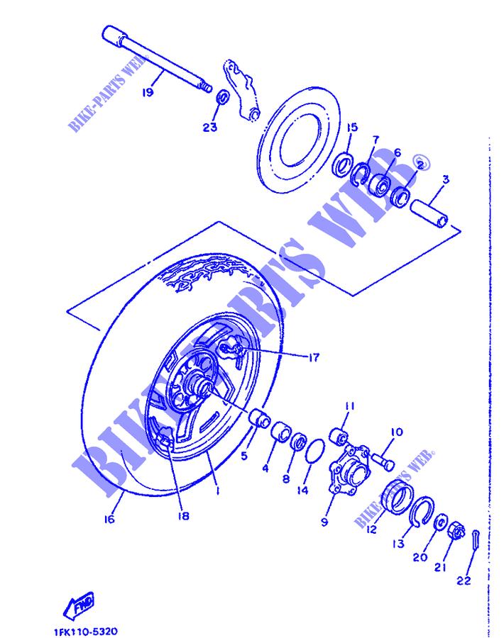 Roue arrière vmax 1200 ROUE-ARRIERE-Yamaha-MOTO-1200-1989-VMAX-VMX12-VMAX-1FK110-5320