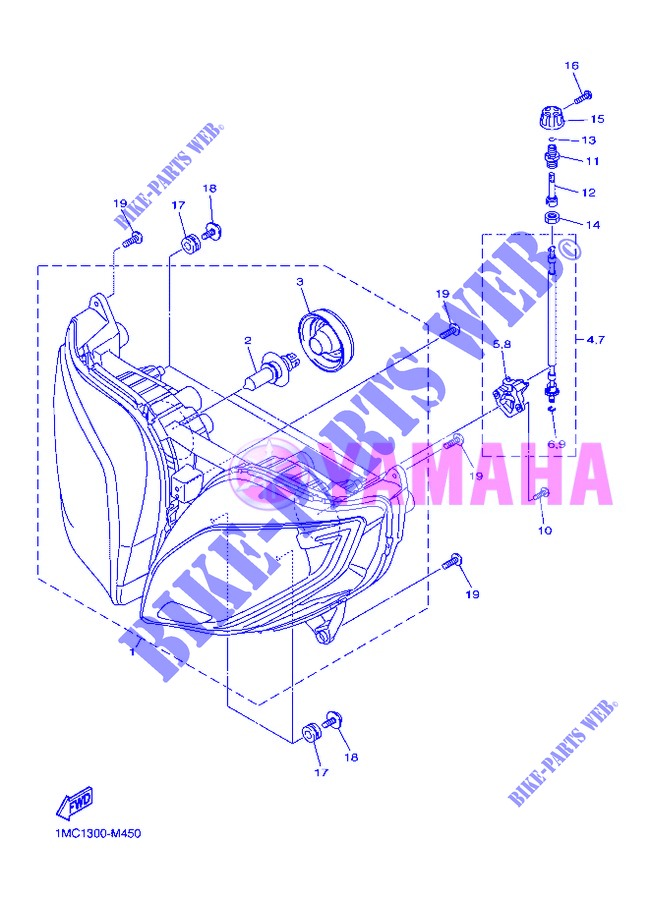 PHARE  pour Yamaha FJR1300AS de 2013