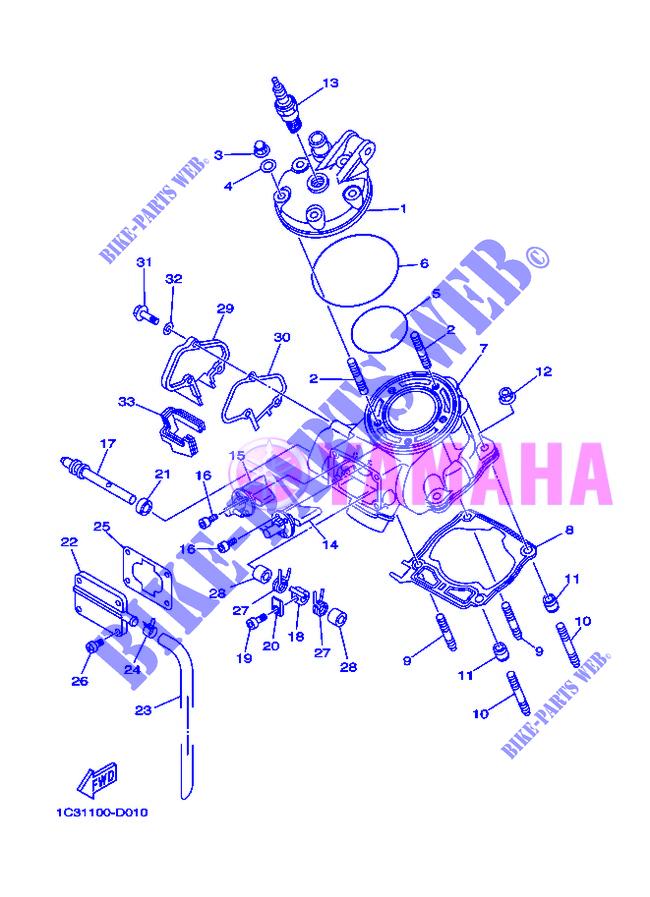 culasse yz125 yz 010 yamaha moto yz125 125 2013 finland yamaha catalogue de pices dtaches d. Black Bedroom Furniture Sets. Home Design Ideas