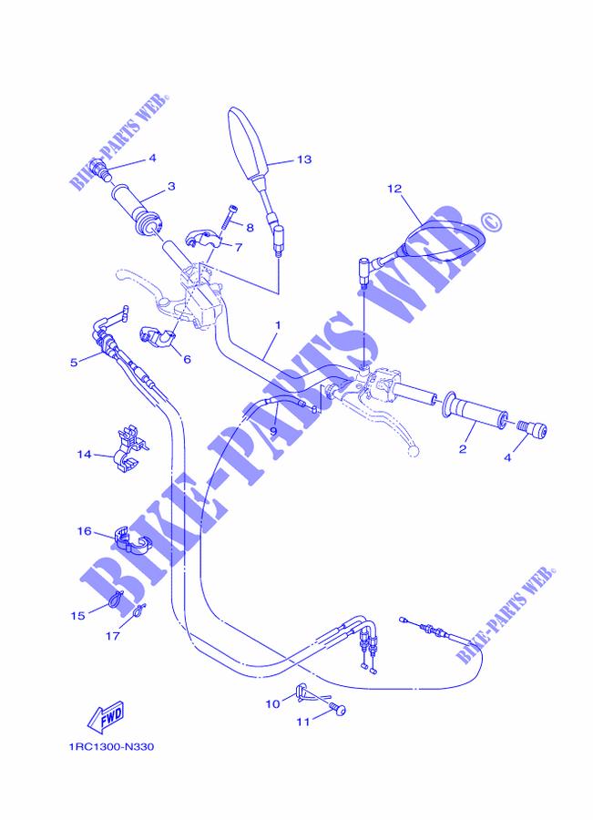 2 cables dans la poignée de gaz GUIDON-ET-CABLES-Yamaha-MOTO-850-2014-MT09-ABS-MT09A-1RC1300-N330