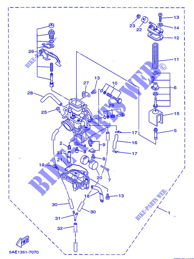 carburateur tdr125 tdr 010 yamaha moto tdr125 125 1997 france yamaha catalogue de pices. Black Bedroom Furniture Sets. Home Design Ideas