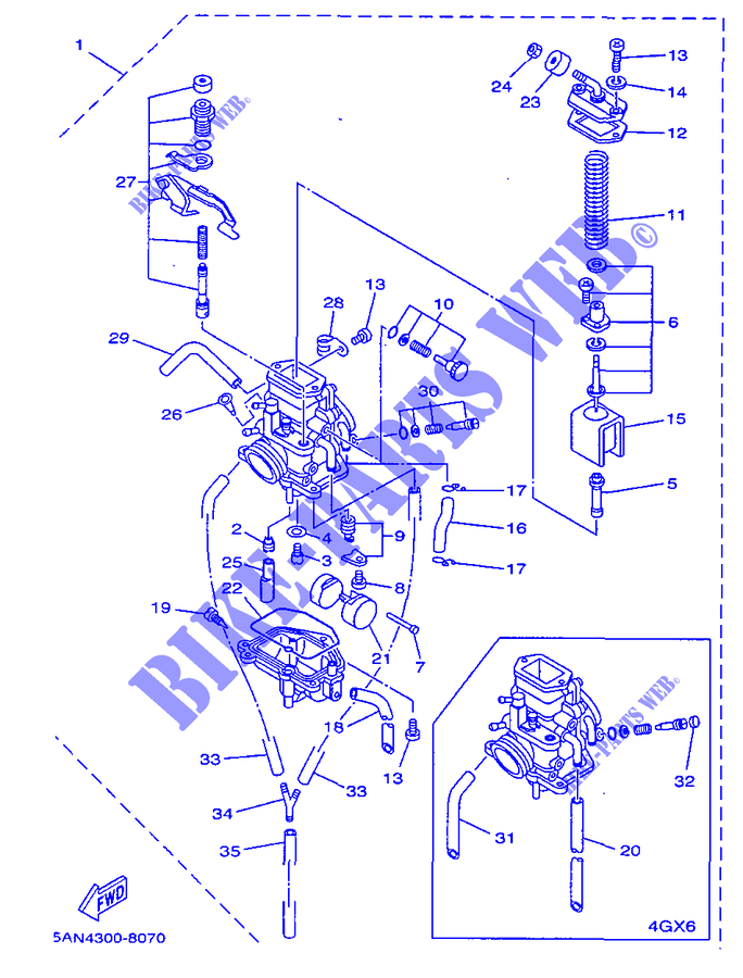carburateur tdr125 tdr 020 yamaha moto tdr125 125 1998 austria yamaha catalogue de pices. Black Bedroom Furniture Sets. Home Design Ideas