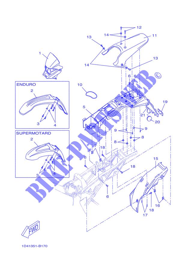 garde boue avant dt50r supermotard 2007 50 moto yamaha moto yamaha catalogue de pi ces. Black Bedroom Furniture Sets. Home Design Ideas